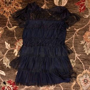 Cute Ruffled & Laced Black Mini Dress NWOT